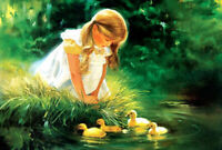 Girl & Duckling DIY Jigsaw Puzzle 300 Pieces Adults Kids Learning Education Toys