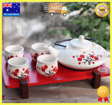 Japanese Traditional Round Flat Style Sakura Patterned 5 Piece Porcelain Tea Set