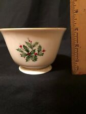 "Lenox Hand Decorated 24K Gold Holly Berry 4 1/3"" Square Bowl"