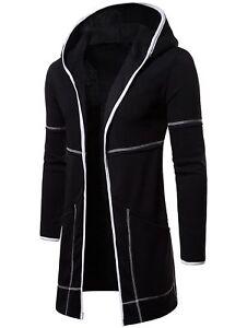Fashion Mens Cardigan Hooded Long Cloak Cape Coat Loose Casual Slim Fit Jacket