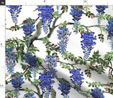 Blue Flowers Tree Garden Floral Watercolor Spoonflower Fabric by the Yard