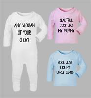 bac06ecc2 Sleep Suit - Personalised Custom Text Baby Grow Romper Gift Present ...