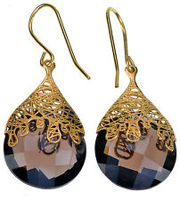Adi Paz 15.50 Ct tw Briolette Faceted Smoky Quartz 14K yellow Gold Earrings
