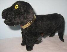 Old Wind Up Tin & Plush Dauschund Weiner Dog w/ metal collar & glass eyes