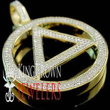 Real Diamond Illuminati Eminem Triangle Sign Pendant .40CT In Yellow Gold Finish