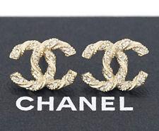 CHANEL CC Logos Twist Stud Earrings Gold & Rhinestone F14V w/BOX #1247