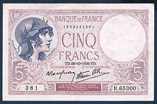 FRANCE - 5 FRANCS VIOLET - Fayette n° 4.13 - 26=10=1939.TD en TTB  381  R.65300