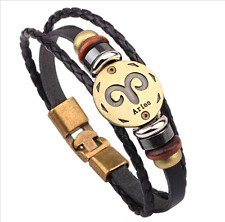 Hot 1pcs aries punk style Constellation Leather Bracelet Men Women's