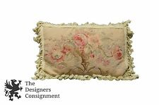 Chelsea Textiles Wool Down Filled Pillow Needlepoint Embroidered Floral Roses