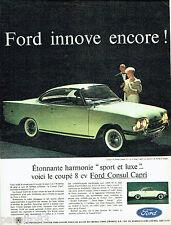 PUBLICITE ADVERTISING 096  1961  Ford  la Consul 315 Capri sport & luxe