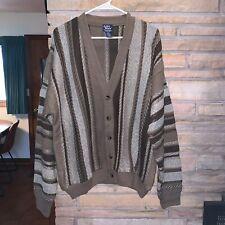 Vintage 90's JOHN BLAIR Coogi Style Striped Knit Sweater Cardigan Mens Large