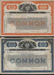 2 Stk Columbia Graphophone Manufacturing Co. Blue 1922 & Orange 1921 Records