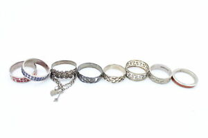8 x .925 Sterling Silver RINGS inc. Enamel, Filigree, Greek Key, Celtic (21g)