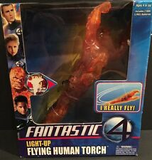 Fantastic 4 Light-Up Flying Human Torch Figure - 2005 Marvel Toy Biz In Box