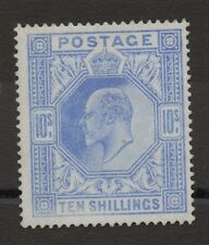 Ed VII - SG319. 10s blue. Somerset House printing. Fresh unmounted mint.