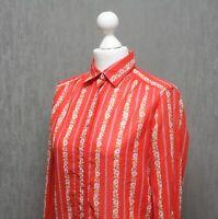 CELINE PARIS Women`s Cotton Flovers Printed Red Top Shirt Long Sleeve Size 40 M