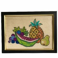 "Fruit Still Life Needlepoint Watermelon Pineapple 16"" Picture Framed Glass"