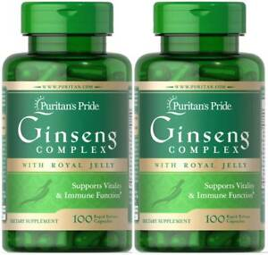 Puritan's Pride Ginseng Complex with Royal Jelly 2X 100 Caps Immune Health