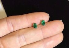 Vivid Deep Green .48CTW Colombian  Emerald 14K White Gold Earrings
