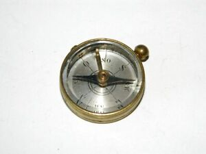Vintage Miniature Compass Brass Magnetic Compass Etched Aluminum Dial