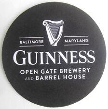 GUINNESS OPEN GATE BREWERY & BARREL HOUSE Beer COASTER, Mat, Baltimore, MARYLAND