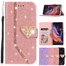 For Samsung Galaxy S8 S9 S10 Note 10 Flip Bling Magnet Leather Wallet Case Cover