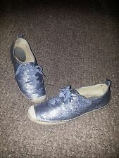 COACH Ramira Silver Sparkle Sneakers with Jute Trim-8B-Very Good Condition