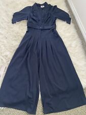 Miss Candyfloss 50s Inspired Embolden Age Jumpsuit Midnight Blue 2XL