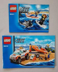 2 x LEGO City Coast Guard 60011 + 60012 Küstenwachenfahrzeug +Jet-Ski mit Surfer