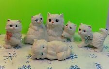 Vintage Set Of HOMCO White Persian Cat And Kittens Figurines Collectible Gift