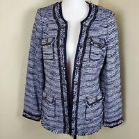 White House Black Market Tweed Jacket Woven Chain Detail Blue WHBM Size 12 NWT