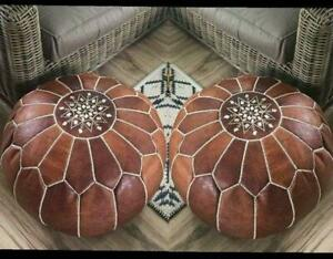 Set of 2 MOROCCAN POUF Leather Pouf Ottoman Pouf, 50 % OF Footstool Pouf
