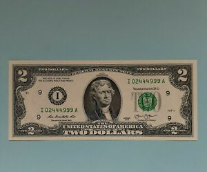 2013 $2 FRN FANCY SERIAL NUMBER  I 02444999A  NOTE