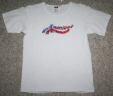 Small Anvil America White Red Blue Cotton Women's Crewneck Tee T-Shirt Top Pride