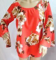 Arabella Women Plus Size 1x 2x 3x Floral Coral Tan Brown Top Blouse Shirt