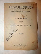 Libretto Teatro Opera - Piave / Giuseppe Verdi: Rigoletto 1910 Napoli Jorio
