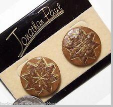 JONATHAN PAUL Pierced Earrings, Round Brown Wood-Look w/8-Pointed Star & GT NEW