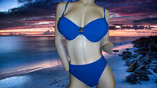 New GIDEON OBERSON by GOTTEX blue HIDDEN TREASURES BATHING SUIT BIKINI 36 D 14