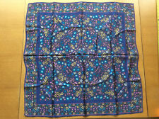 Vintage Womens Scarf Headscarf Blue White Pink Yellow Floral Acetate Satin 1970s