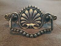 ANTIQUE ORNATE BRASS DRAWER BACKPLATE WITH DECORATIVE STEEL PULL/ HANDLE