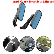 2X Anti Glare Rectangle Motorcycle Rearview Side Mirrors 8MM 10MM For Cafe Racer