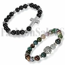 2pcs Men's Women's Imitation Agate Stone Beads 8mm Tibetan Buddha Cross Bracelet