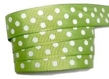 "5 yards Lime green polka dot print 5/8"" grosgrain ribbon by the yard DIY"