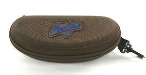 Maui Jim Brown Textured Sunglasses Case Zip Closure Hook Clip Feature Lined