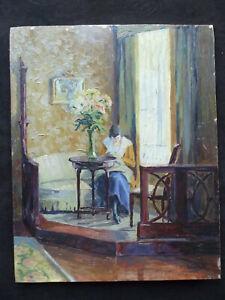 Max Wenzlaff 1891-1974 Interieur - Frau am Fenster