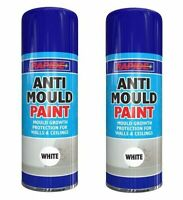 2x Anti Mould White Spray Paint Rapide Protect Walls & Ceilings 400ML (2963)