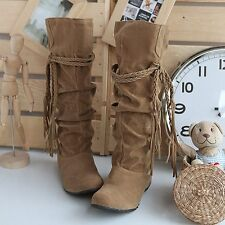 Fashion Women Tassel Mid-calf Boots Snow Boots Jackboots Suede Winter Warm Shoes
