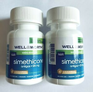 Ultra Strength Simethicone 125 mg Fast Gas Relief, 2 Bottles Total 120 Softgels.