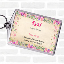 Roxi Name Meaning Bag Tag Keychain Keyring  Floral
