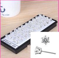 20Pairs Box Men Fashion CUT CRYSTAL DIAMANTE 60% Silver Clear Ear Studs Earrings